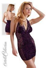 Hautenges Neckholder-Kleid lila dress Minikleid Leo transparent purple S M L