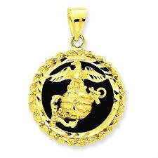 Gold US Marine Corps Pendant on Black Onyx