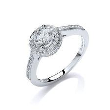 Jewelco London Rhodium Silver Round Swarovski CZ Halo Solitaire Engagement Ring