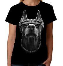 Velocitee Ladies Doberman T-Shirt Cool Dog Thug Street Dude Pimp Biker A15047