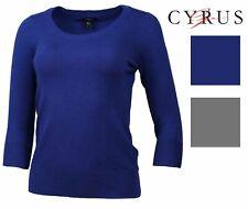 CYRUS Womens 3/4 Sleeve Scoop Neck Sweater