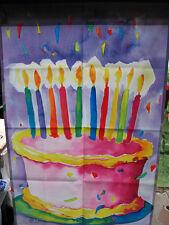 TOLAND  TIE - DYE BIRTHDAY CAKE BANNER  VINT. UNUSED COND.  GROOVY !!!!
