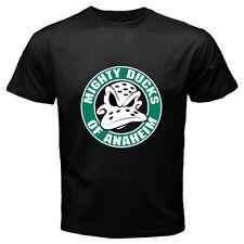 New Mighty Ducks Anaheim NHL Hockey League Logo Men's Black T-Shirt S to 3XL