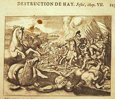 GRAVURE 17è 18è BIBLE DE ROYAUMONT Destruction de Hay Josué Chap VII crime Achan