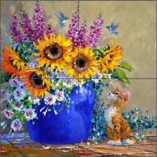 Floral Tile Backsplash Senkarik Kitten Hummingbird Art Ceramic Mural MSA237