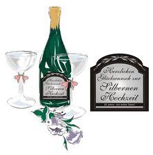 Silberne Hochzeit Aufkleber Sektflasche Flaschenetikett viele Jahreszahlen