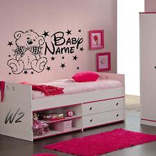 Personnalisé Bébé Ours Fille ou Garçon's Bedroom Wall Art Decal Vinyl Large Autocollant
