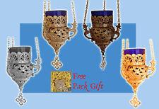 Vigil Hanging Metal Oil Candle Orthodox Hand Made Flower Carvings B + FREE Wicks