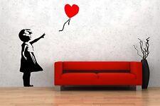 """Banksy Graffiti """"Ragazza con palloncino rosso"""" ARTE Muro Adesivi in Vinile 40cm x 90cm NUOVO"""