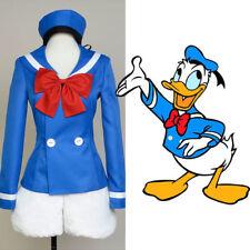 Disney Donald Duck Mascot Cosplay Costume Blue Uniform Sailor Suit Outfit Dress
