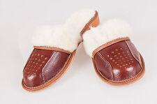 Women Ladies Slippers Sheepskin Wool Brown Real Leather Size 3 4 5 6 7 8
