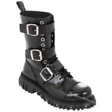 Boots & Braces 12-Loch Massiv 3-Schnallen Stiefel Schwarz Leder Black Buckle