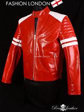 Fight Club Proyecto Mayhem Rojo Para Hombre cinematográfico Auténtico Cuero Cafe Racer Jacket