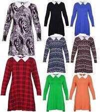 Womens Plus Size Long Sleeve Peter Pan Collar Ladies Swing Flare Dress 14-28