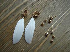 Real Feather Ear Cuffs Earring Rhinestone Stud Earrings Set Gypsy Boho Jewelry