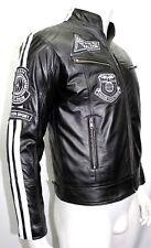 Falcon Taskforce Black Men/'s Biker Style Retro Fashion Real Sheep Leather Jacket
