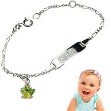 Baby Tauf Armband mit Frosch -925er Sterling Silber- Inkl.Gravur-Neu
