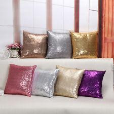 40x40cm Glitter Sequins Solid Throw Pillow Case Home Bed Sofa Car Cushion Cover
