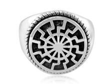 925 Sterling Silver German Schwarze Sonne Black Sun Sonnenrad Pagan Ring