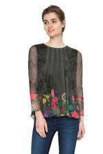 Desigual Blu Chiffon Floreale Rachel T-shirt girocollo XS-XXL UK 8-18 RRP 74