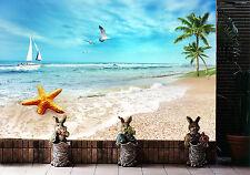Papel Pintado Mural De Vellón Playa De Estrellas De Mar 1 Paisaje Fondo Pantalla