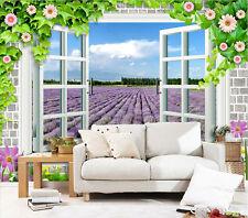 3D Lavendel-Garten Fototapeten Wandbild Fototapete Bild Tapete Familie Kinder