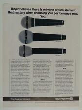 retro magazine advert 1983 BEYER m300 / m500 / m69s microphone