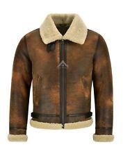 Mens B3 Sheepskin Jacket Dark Copper Viintage Real Shearling Fur Jacket Reagan