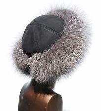 Premium Silver Fox Fur & Black Suede Leather Women's Winter Cloche Roller Hat