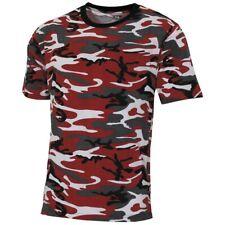 MFH Maglia Maglietta T-shirt uomo Stati uniti militare alla moda Camo rosso