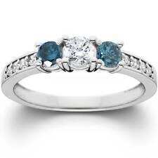 1ct Treated Blue Diamond 3 Stone Engagement Ring 14K White Gold