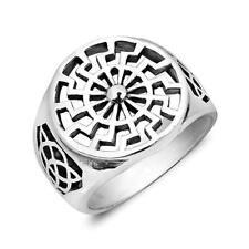925 Sterling Silver German Black Sun Wheel Sonnenrad Celtic Knot Pagan Ring