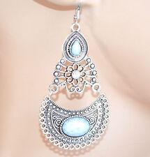 Orecchini etnici argento tibetano pietre bianche pendenti donna ragazza E179