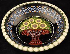 Johann Lipp Mering Majolica German Sgraffito Decorated Bowl Flower Basket Decor