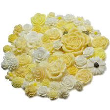 IVORY WHITE Set Resin Flatback Flower Rose Cabochon Craft Embellishments Decoden