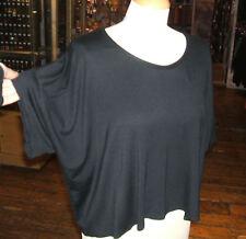 Baylis & Knight Black Oversized Loose Short Sleeve Crop Top T Shirt 80's Madonna