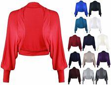 Womens Ladies Batwing Shrug Long Sleeve Jersey Bolero Cardigan CropTop Size 8-26