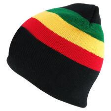 Acrylic Rasta RGY Winter Short Beanie Hat - FREE SHIP
