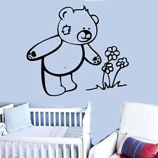 Bear & Flower Vinyl Wall Sticker Art Kids Room Décor Girls Boys Nursery