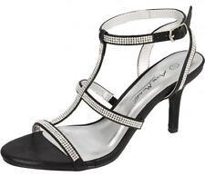Ladies Black DIAMANTE Slingback Sandals F10300 **WEDDING/PARTY'S**Anne Michelle