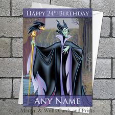 Maleficent / Sleeping Beauty birthday card: Personalised, plus envelope.