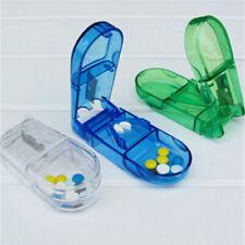 Plastic-Pill Splitter Cutter Half Compartment Storage Medicine Tablet Holder Box