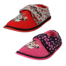Disney Para Niñas Minnie Mouse BOARDER Zapatillas ROSA O Rojo CIERRE ADHESIVO