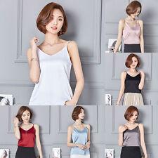 Women Satin Silk Like Cami Strappy Top Shirt Lady's V Neck Sleeveless Vest Tank