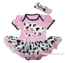 Western Cowgirl Dairy Cattle Light Pink Girl Bodysuit Milk Cow Baby Dress NB-18M