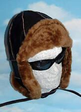 Handmade Brown Sheepskin Bomber Pilot Ushanka Aviator Hat Real Leather fur