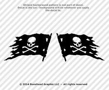 Jolly Roger Skull & Cross Bones Pirate Flag Mirrored Set 3.4 inch Vinyl Decal