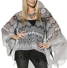 Ladies UK Plus Size 6 - 26 Black Grey Abstract Fringed Kimono Tunic Top