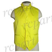 New Men's Solid Tuxedo Vest Waistcoat & Ascot Cravat Yellow Wedding