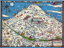 Midcentury Skisterical Map Mt. Hood Oregon Recreation Area Vintage Wall Poster